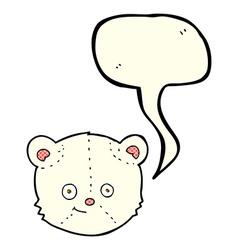 Cartoon polar bear head with speech bubble vector
