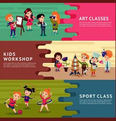 Children hobbies education horizontal banners vector