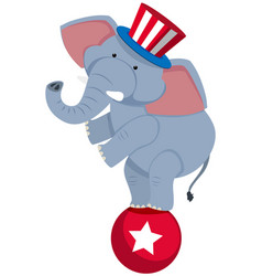 Circus elephant on red ball vector