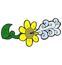 Comic cartoon flower squirting water vector