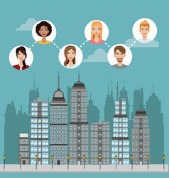 Community connected urban building vector