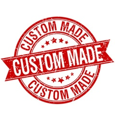 Custom made grunge retro red isolated ribbon stamp vector