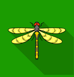 Dragonfly icon in flat style isolated on white vector