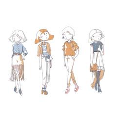 Fashion girls set hand drawn creative vector