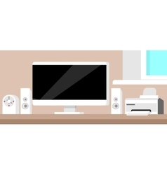 Flat technology workspace vector image