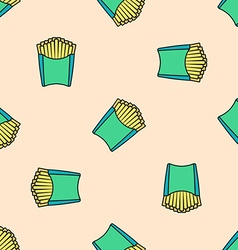 French fries colored seamless pattern vector
