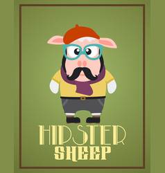 Funny hipster sheep vector