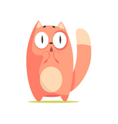 funny surprised red cat with big eyes cute vector image vector image