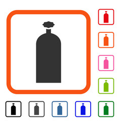 Gas cylinder framed icon vector
