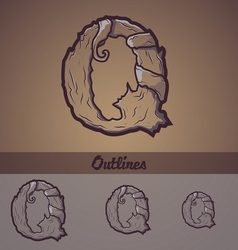 Halloween decorative alphabet - Q letter vector image vector image