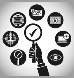 Hand search technology protection concept vector