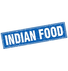 Indian food blue square grunge stamp on white vector