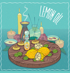 Lemon oil used for aromatherapy vector