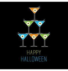 Martini glasses pyramid happy halloween card vector