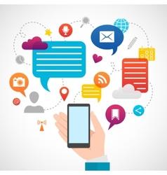 Mobile social network media concept vector image
