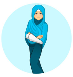 Modern muslim woman with folded arms wearing blue vector