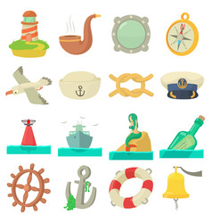 nautical sea icons set cartoon style vector image