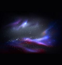outer space and galaxy cosmos panorama vector image