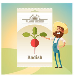 Pack of radish seeds icon vector