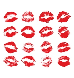 Red lips imprint isolated on white background set vector image vector image