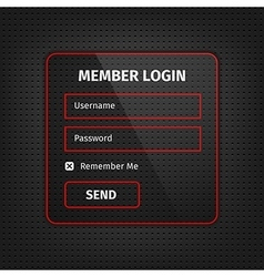 Red member login ui on black background vector
