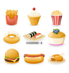 retro flat fast food icons and symbols set vector image