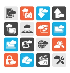 Silhouette cloud services and objects icons vector