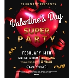 Valentines party flyer with red heart vector image