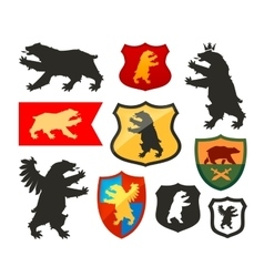 Shield with bear logo coat of arms vector