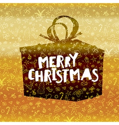 Merry Christmas lettering on black gift box Gold vector image