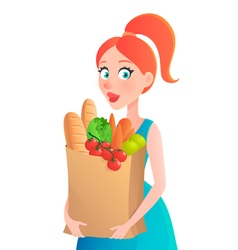 Young woman holding paper bag of groceries girl vector