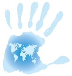 Handprint with six toes map of the world vector