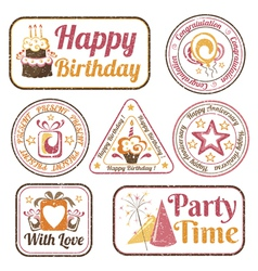 Set of celebration stamps vector