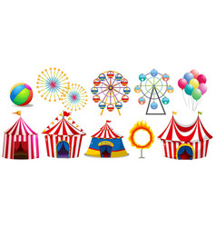 circus tents and ferris wheels vector image