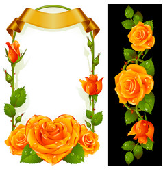 Set of floral decoration yellow roses green vector