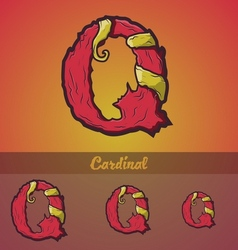 Halloween decorative alphabet - Q letter vector image
