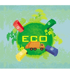 Ecology card design segregation of garbage vector