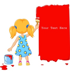 Cute little girl painting the wall with red color vector