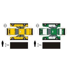 Paper models of taxi vector image