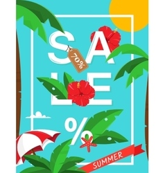 Summer sale card with palms and hibiscus flowers vector