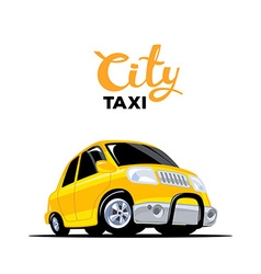 Yellow taxi car with header on white back vector