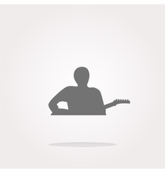 Guitarist web icon button isolated on white vector