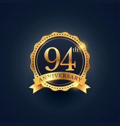 94th anniversary celebration badge label in vector image