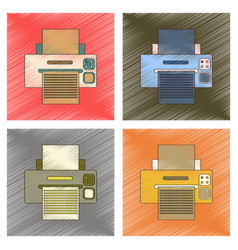 Assembly flat shading style icon computer printer vector