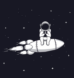 Astronaut play with mobile phone vector