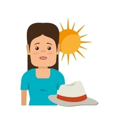 avatar woman and summer hat vector image
