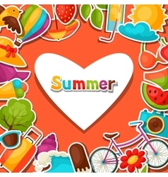 Background with summer stickers Design for cards vector image