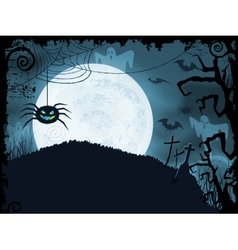 Blue halloween background with scary spider vector