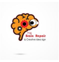 Creative brain repair abstract logo vector image vector image