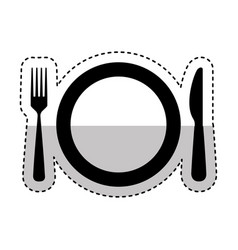 dish with kitchen cutlery isolated icon vector image